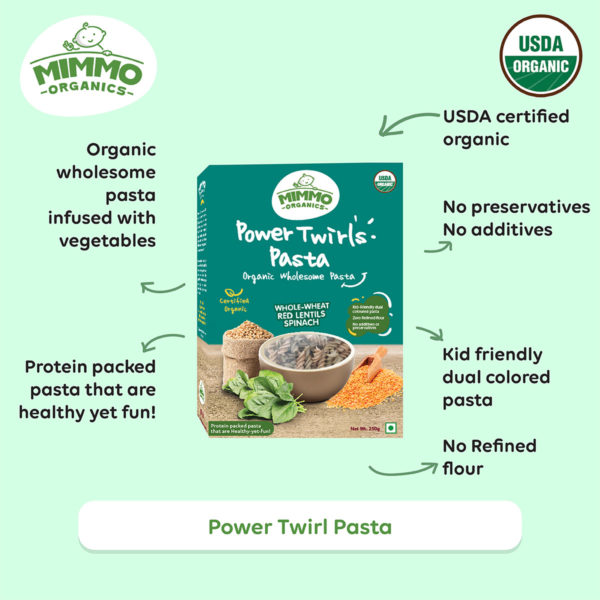 Power Twirls organic baby pasta